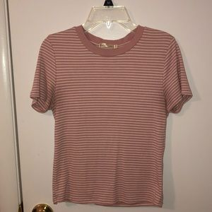 Hearts&hips pink and white cropped t shirt